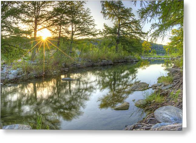 Texas Hill Country Landscape Greeting Cards - Texas Hill Country Images - Pedernales Falls September Sunrise 5 Greeting Card by Rob Greebon