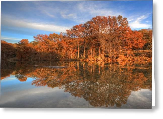 Photos Of Autumn Greeting Cards - Texas  Hill Country Images - Pedernales Falls State Park Autumn  Greeting Card by Rob Greebon