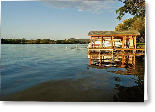 Texas Hill Country Lake Greeting Card by Kristina Deane