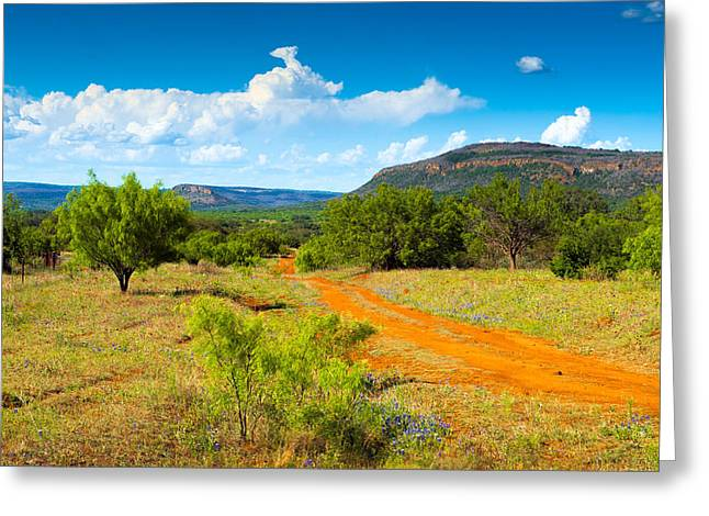 Dirt Road Greeting Cards - Texas Hill Country Red Dirt Road Greeting Card by Darryl Dalton