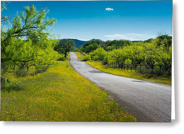 Country Road Greeting Cards - Texas Hill Country Road Greeting Card by Darryl Dalton