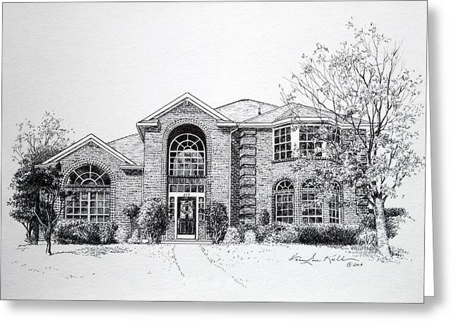 Pen And Ink Drawing Greeting Cards - Texas Home 2 Greeting Card by Hanne Lore Koehler