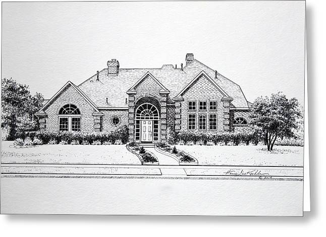 Pen And Ink Drawing Greeting Cards - Texas Home 3 Greeting Card by Hanne Lore Koehler