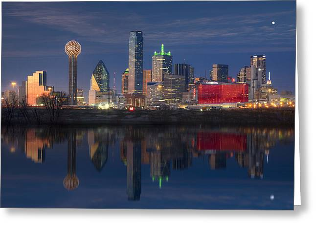 Skyline Print Greeting Cards - Texas Images - The Dallas Skyline Reflected in the Trinity River Greeting Card by Rob Greebon
