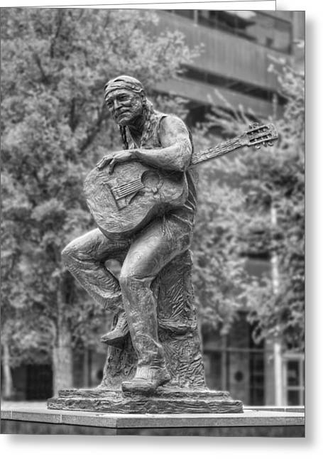Downtown Austin Greeting Cards - Texas Images - Willie Nelson Statue in Downtown Austin 2 Greeting Card by Rob Greebon