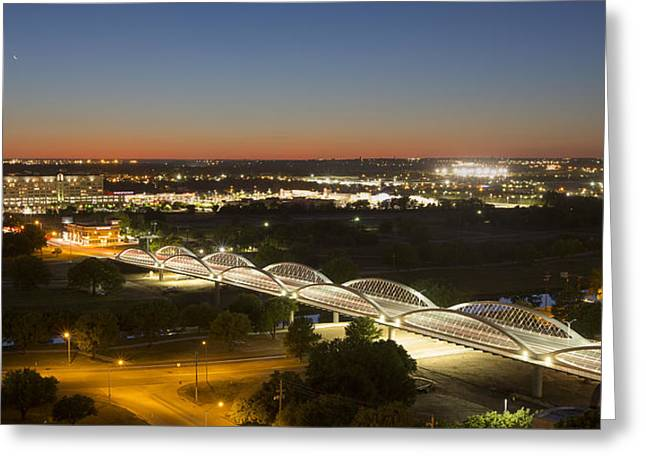 Ft Worth Greeting Cards - Texas Images 7th Street Bridge after Sunset  Fort Worth Texa Greeting Card by Rob Greebon