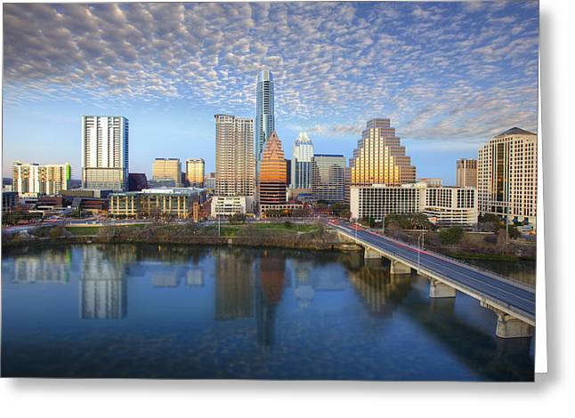 Austin Tx Greeting Cards - The Austin Texas Skyline in Late Afternoon Greeting Card by Rob Greebon