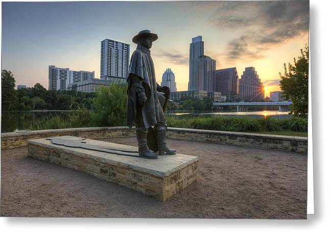 Austin Downtown Greeting Cards - Stevie Ray Vaughan and the Austin Skyline Greeting Card by Rob Greebon