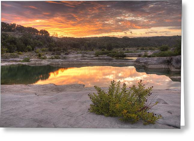 Fall Photos Greeting Cards - Texas Landscape Images - Pedernales Falls State Park August Sunr Greeting Card by Rob Greebon