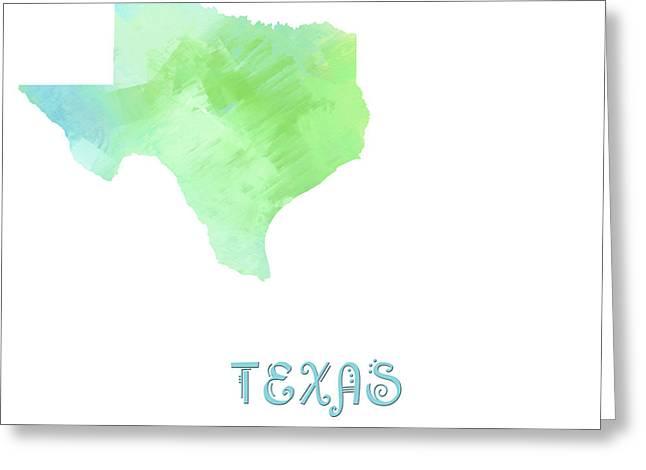 State Phrase Greeting Cards - Texas - Lone Star State - Map - State Phrase - Geology Greeting Card by Andee Design