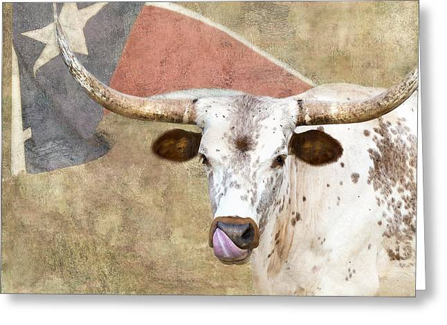 Steer Greeting Cards - Texas Longhorn # 2 Greeting Card by Betty LaRue
