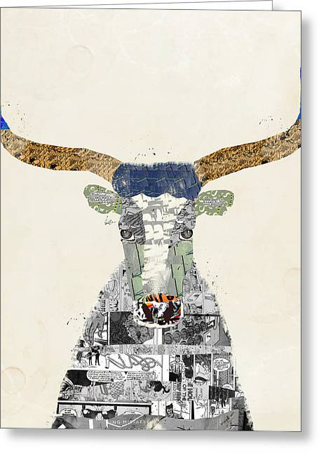 Texas Longhorn Cow Greeting Cards - Texas Longhorn Greeting Card by Bri Buckley
