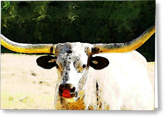 Texas Longhorn Cow Greeting Cards - Texas Longhorn - Bull Cow Greeting Card by Sharon Cummings