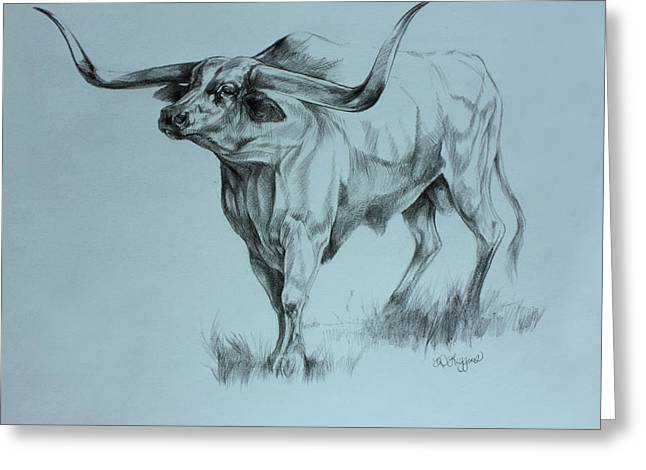 Steer Drawings Greeting Cards - Texas Longhorn Greeting Card by Derrick Higgins