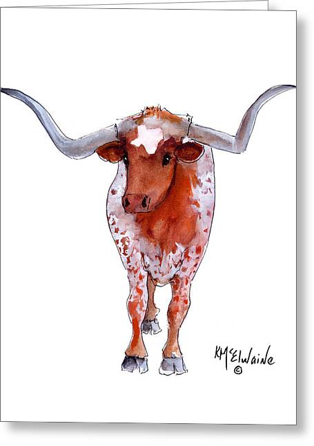 """texas Artist"" Greeting Cards - Texas Longhorn Greeting Card by Kathleen McElwaine"