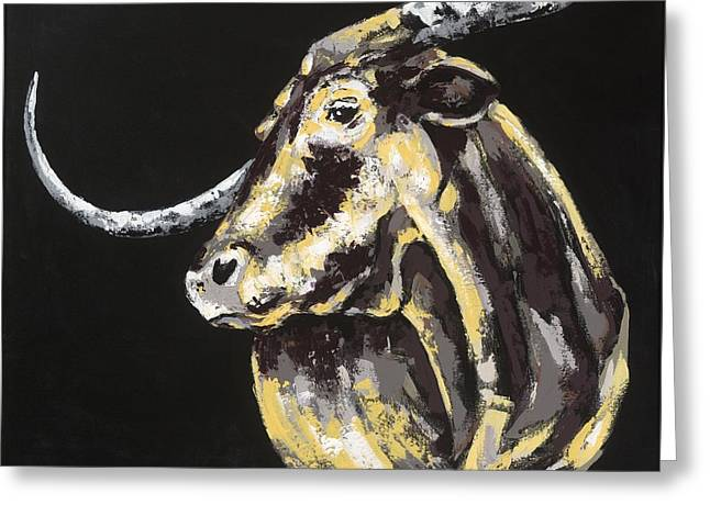 Jensen Greeting Cards - Texas Longhorn Greeting Card by Konni Jensen