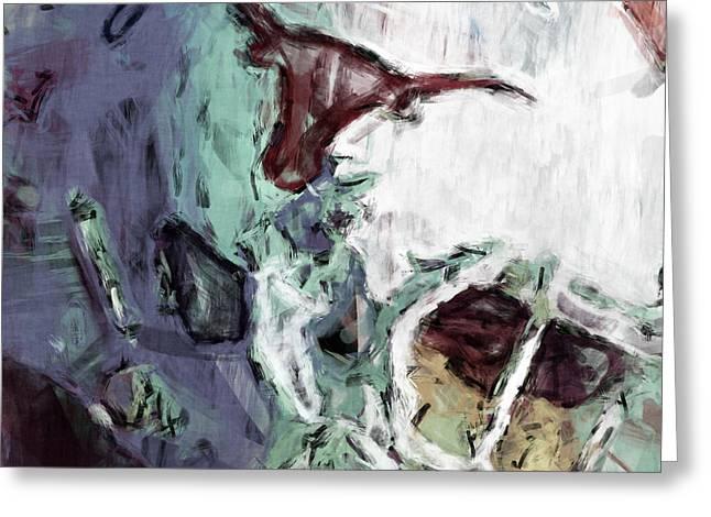 Sports Digital Greeting Cards - Texas Longhorns Helmet Abstract Greeting Card by David G Paul