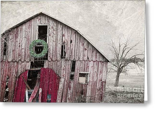 Barn Door Greeting Cards - Texas Manger Greeting Card by Elena Nosyreva