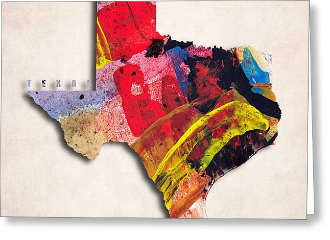 Texas Map Art - Painted Map Of Texas Greeting Card by World Art Prints And Designs
