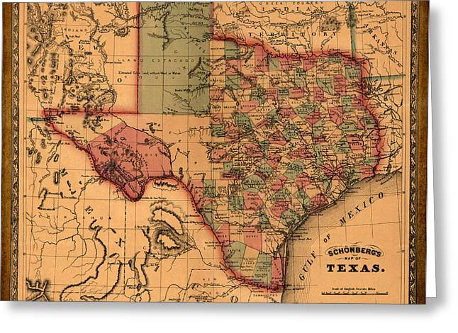 Texas A And M Drawings Greeting Cards - Texas Map Art - Vintage Antique map of Texas Greeting Card by World Art Prints And Designs
