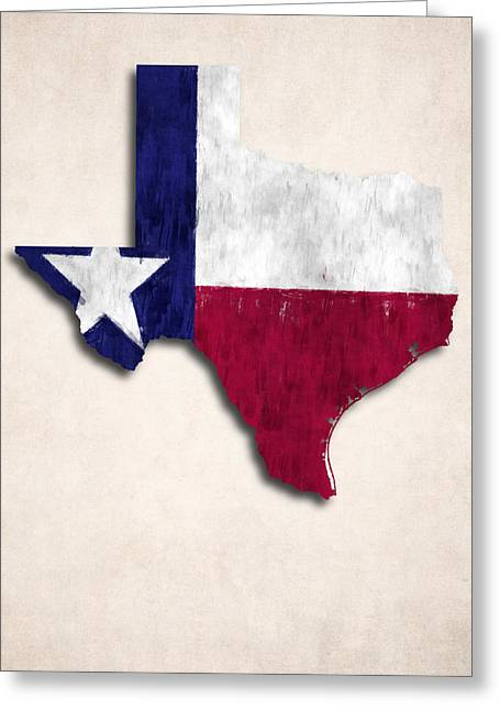 Geographic Digital Art Greeting Cards - Texas Map Art with Flag Design Greeting Card by World Art Prints And Designs