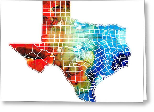 Rio Grande Greeting Cards - Texas Map - Counties By Sharon Cummings Greeting Card by Sharon Cummings