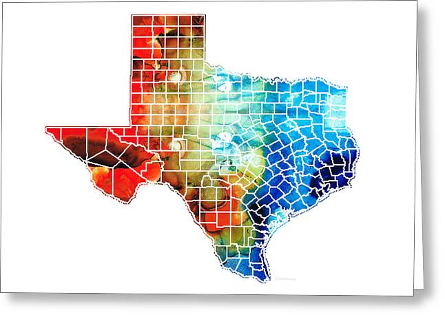 Texas Map - Counties By Sharon Cummings Greeting Card by Sharon Cummings