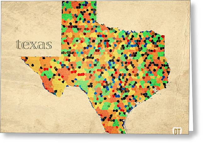 Geography Greeting Cards - Texas Map Crystalized Counties on Worn Canvas by Design Turnpike Greeting Card by Design Turnpike