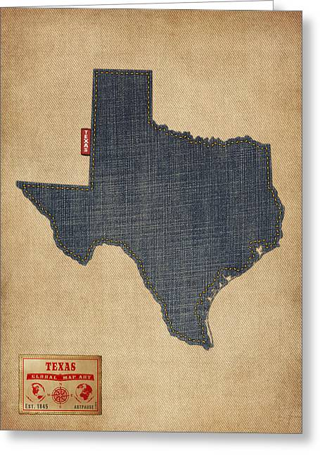 Lone Star State Greeting Cards - Texas Map Denim Jeans Style Greeting Card by Michael Tompsett