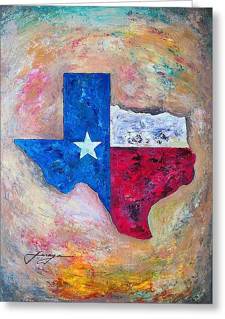 Rio Grande Greeting Cards - Texas Map Flag Greeting Card by Dan Haraga
