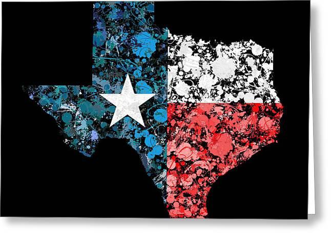 Cartography Greeting Cards - Texas Map flag Greeting Card by Marion De Lauzun