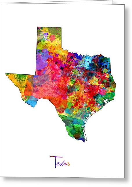 Lone Star State Greeting Cards - Texas Map Greeting Card by Michael Tompsett