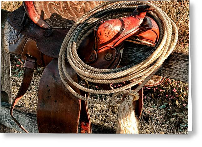 Rodeo Photographs Greeting Cards - Texas Morning Greeting Card by Olivier Le Queinec