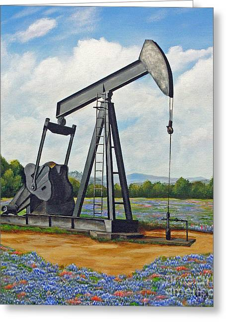 Oil Pumper Paintings Greeting Cards - Texas Oil Well Greeting Card by Jimmie Bartlett