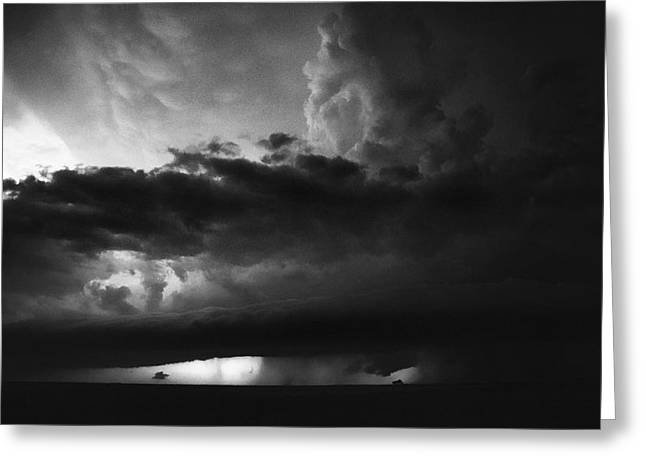 Texas Panhandle Supercell - Black And White Greeting Card by Jason Politte