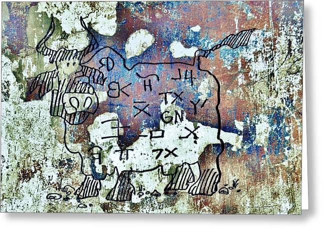 Texas Petroglyph Greeting Card by Larry Campbell