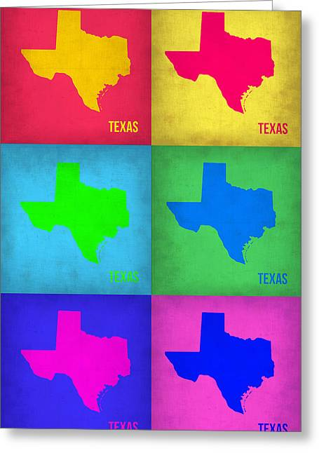 Texas Pop Art Map 1 Greeting Card by Naxart Studio