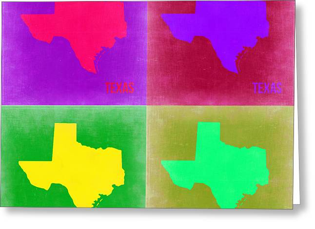 Homes Digital Art Greeting Cards - Texas Pop Art Map 2 Greeting Card by Naxart Studio