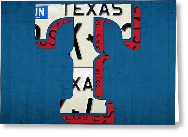 Team Mixed Media Greeting Cards - Texas Rangers Baseball Team Vintage Logo Recycled License Plate Art Greeting Card by Design Turnpike
