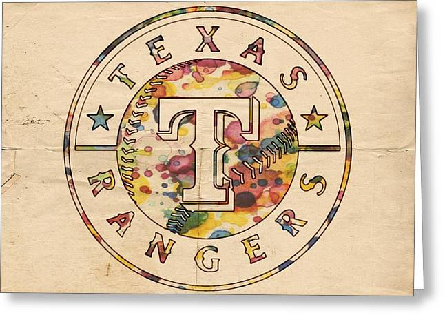 Bat Digital Greeting Cards - Texas Rangers Poster Vintage Greeting Card by Florian Rodarte