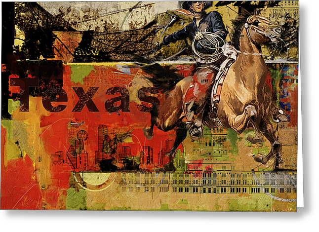 Dallas Paintings Greeting Cards - Texas Rodeo Greeting Card by Corporate Art Task Force