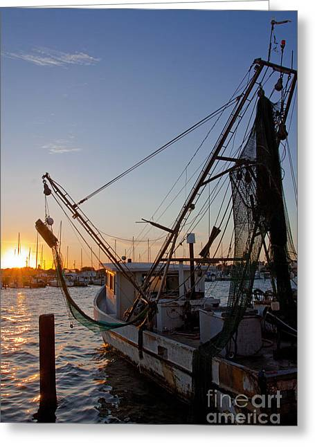 Boats At Dock Greeting Cards - Texas Shrimp Boat Greeting Card by Kathy Weigand