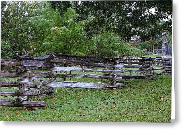Split Rail Fence Greeting Cards - Texas Split Rain Fence Greeting Card by Linda Phelps
