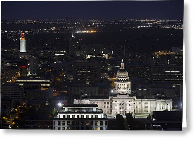 Austin Architecture Greeting Cards - Texas State Capitol and the UT Tower at night Greeting Card by Rob Greebon