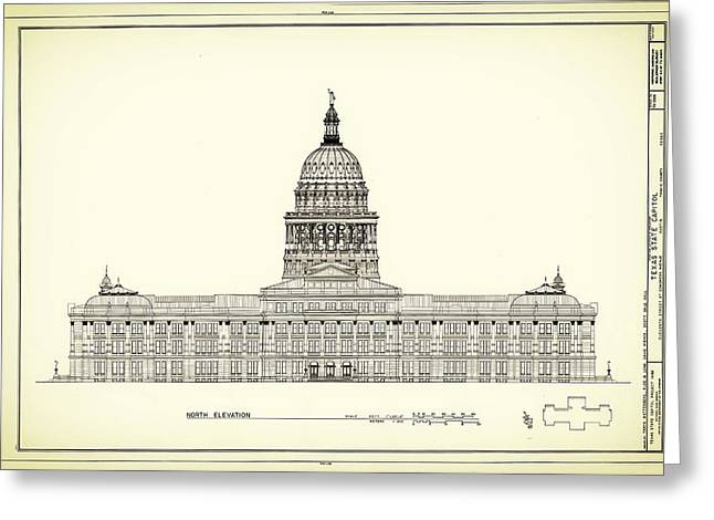 Structure Drawings Greeting Cards - Texas State Capitol Architectural Design Greeting Card by Mountain Dreams