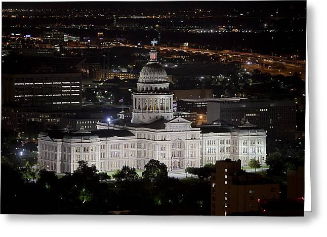 Austin Tx Greeting Cards - Texas State Capitol at night Greeting Card by Rob Greebon