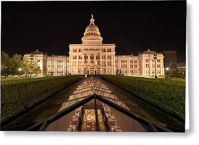 Austin At Night Greeting Cards - Texas State Capitol Building At Night Greeting Card by Todd Aaron