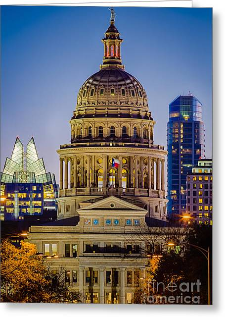 United States Capitol Greeting Cards - Texas State Capitol by Night Greeting Card by Inge Johnsson