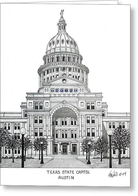 Texas State Capitol Greeting Card by Frederic Kohli
