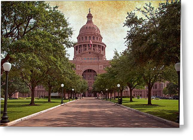 Flag Stone Greeting Cards - Texas State Capitol III Greeting Card by Joan Carroll